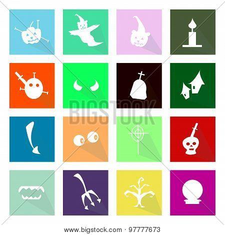 Illustration Set Of 16 Happy Halloween Flat Icons