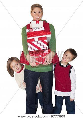 Christmas Shopping Mom and Kids