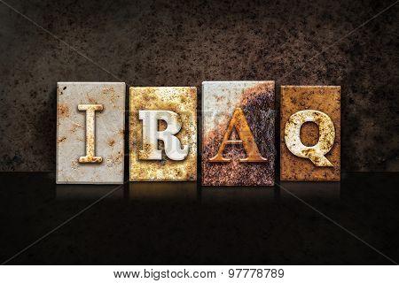Iraq Letterpress Concept On Dark Background