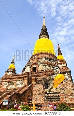 Old Temple Architecture , Wat Yai Chai Mongkol At Ayutthaya, Thailand.