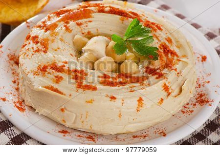 Plate Of  Healthy Creamy Hummus Dip.