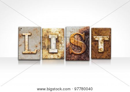 List Letterpress Concept Isolated On White