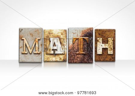 Math Letterpress Concept Isolated On White