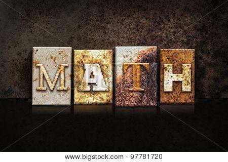 Math Letterpress Concept On Dark Background