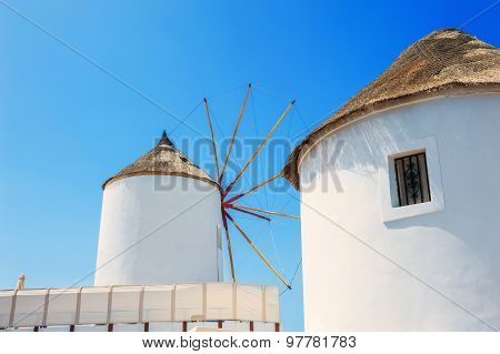 Windmill In Oia Town, Santorini Island, Greece