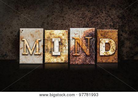 Mind Letterpress Concept On Dark Background