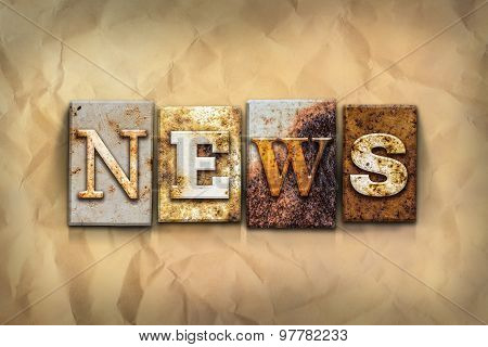 News Concept Rusted Metal Type