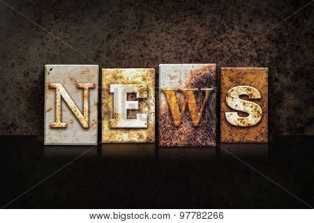 News Letterpress Concept On Dark Background