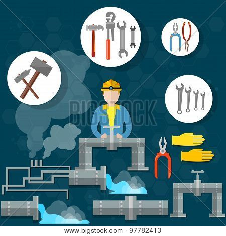 Plumbing Pipes, Plumber Tools, Plumbing, Wrench, Hammer Services, Elimination, Breakage, Repair