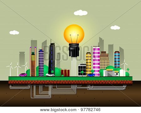 Abstract colorful illustration with an eco city
