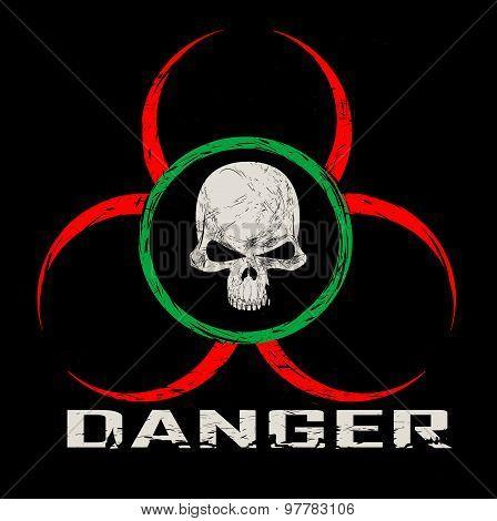 Warning symbol with skull