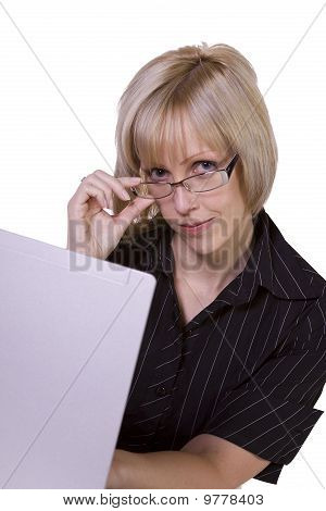 Businesswoman With Glasses Working On Laptop