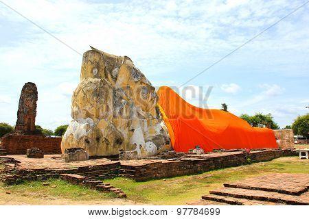 Reclining Buddha Of Wat Lokaya Sutha In Ayutthaya, Thailand.