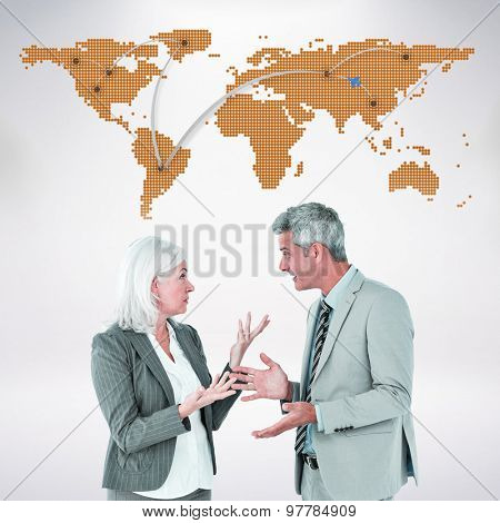 businesswoman angry against her colleague arguing against world map with lines