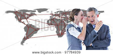 Gossiping business team against global community