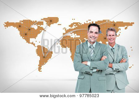 Business team standing arms crossed against world map with lines Business team standing arms crossed against a white screen
