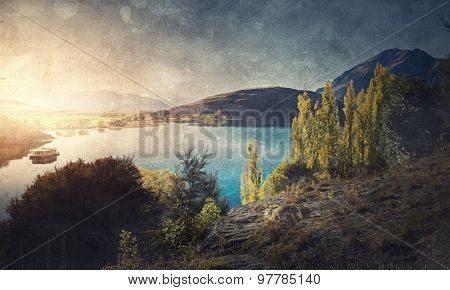 Natural beautiful landscape of mountain lake and forest