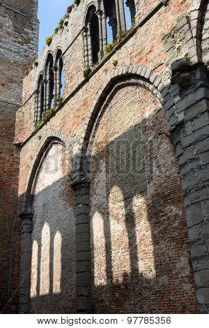 Church of Damme, one of the most beautiful villages in Flanders Belgium, near Bruges, which is only half restored
