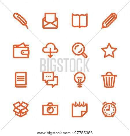 Business Fat Line Icon set for web and mobile. Modern minimalistic flat design elements of working with paper, reading and writing, time management and ideas