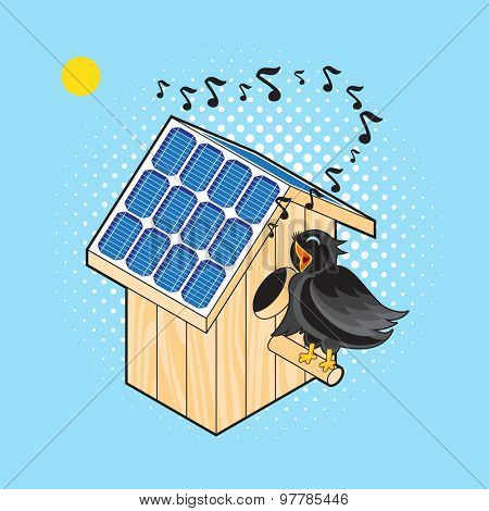 Black Bird Sings near the Nesting Box with Solar Panels