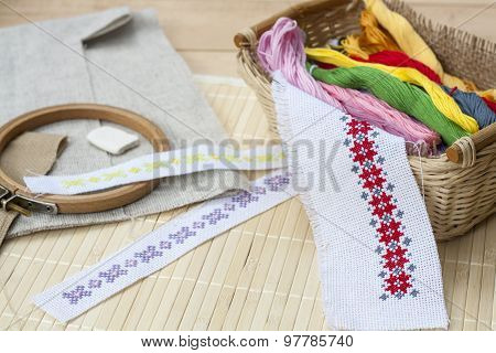 Sewing and ambroidery craft kit, embroidery thread in basket and other tools