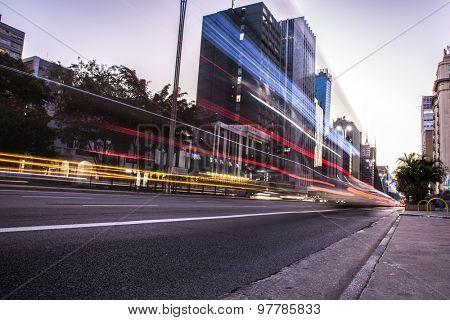 Sunset at Paulista Avenue in Sao Paulo, Brazil