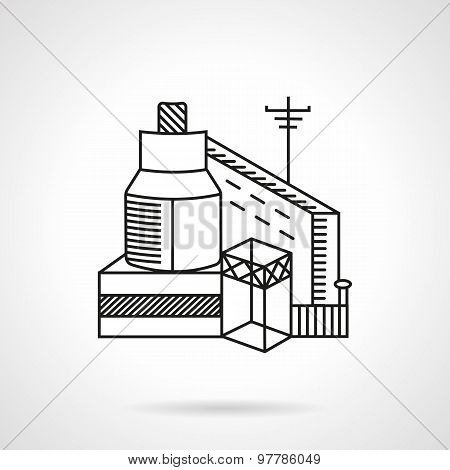 Grain factory flat line vector icon