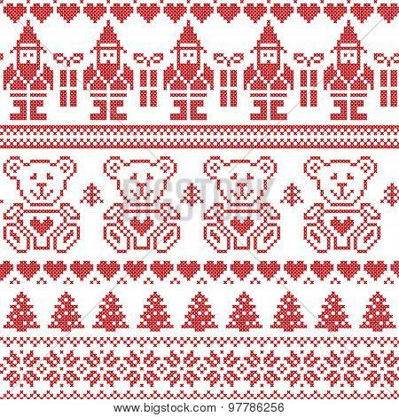 Christmas Pattern With Elfs And Teddy Bears