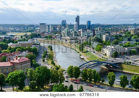 Vilnius, View Of River Neris And City High-rise Buildings On Right Bank