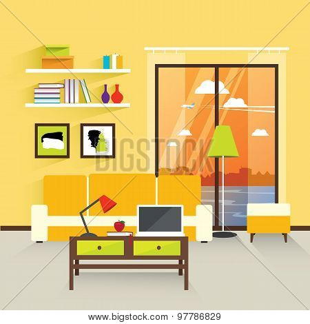 Modern Interior Living Room In Yellow