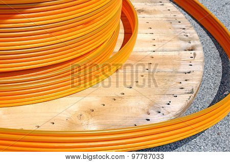 Reel For Cable Conduits For Fibre Optics For Adsl Connection For Internet Users