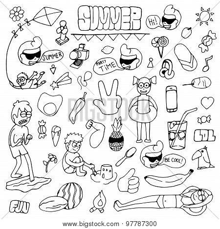 Summer hand drawn doodle set