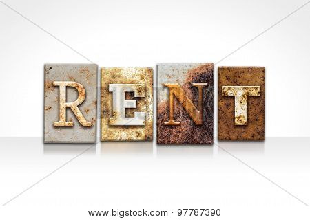 Rent Letterpress Concept Isolated On White