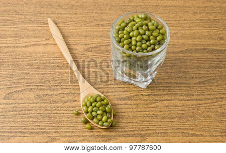 Mung Beans In Spoon And Glass Cup