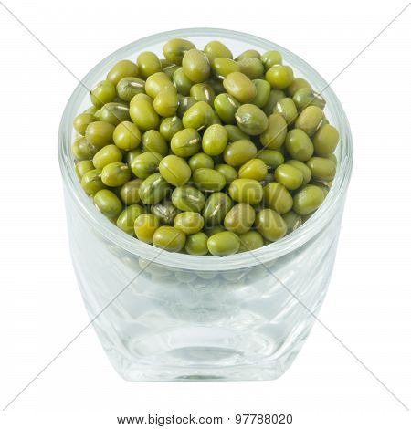Dried Mung Beans In Glass Cup On White Background