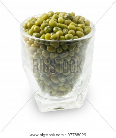 Mung Beans In A Glass Cup On White Background