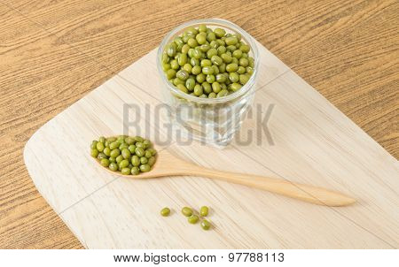 Green Mung Beans In Spoon And Glass Cup