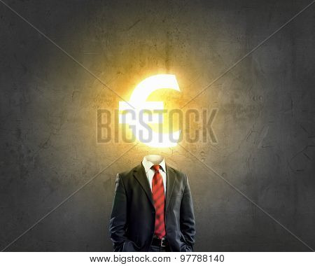 Businessman with  euro sign instead of head