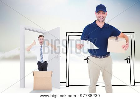 Happy delivery man with cardboard box and clipboard against doodle doors in the clouds