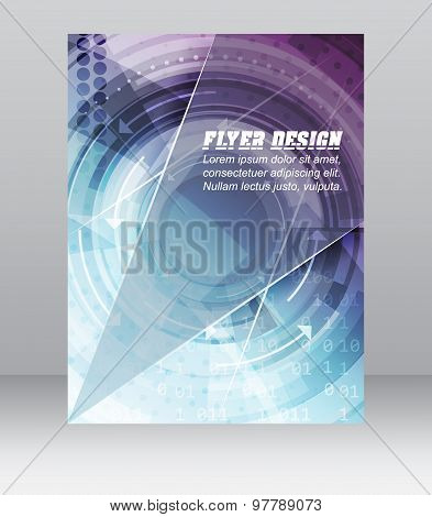 Abstract business flyer template with technological pattern, magazine or cover design