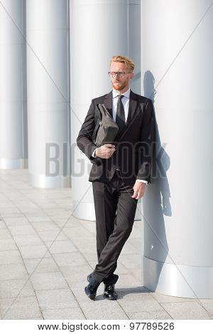 Businessman with brief case