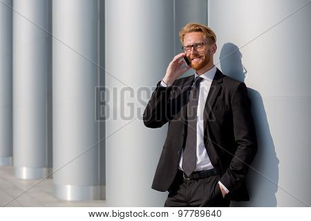 Businessman talking over phone