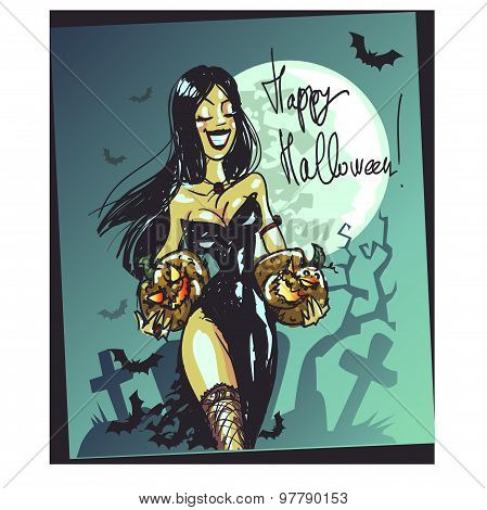 Halloween witch with pumpkin. Happy Halloween card