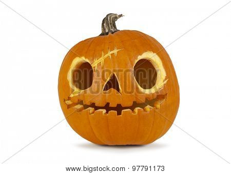Jack O' lantern isolated on white background with shadow