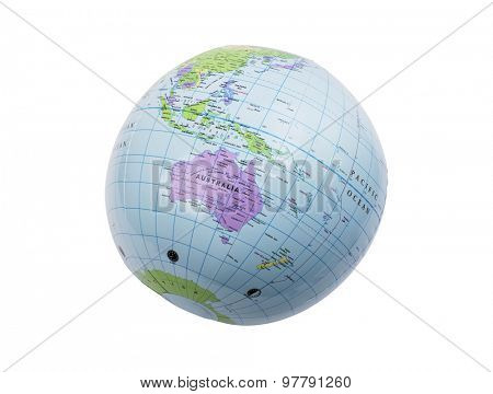 Inflated plastic earth toy showing Australia