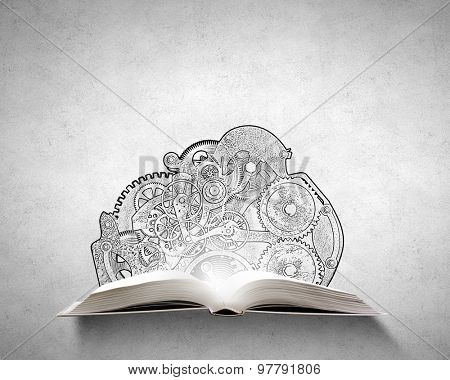 Old opened book with gears and cogwheels flying out