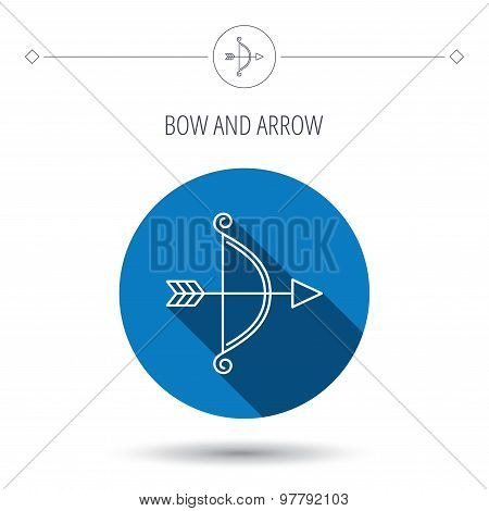 Bow with arrow icon. Valentine weapon sign.