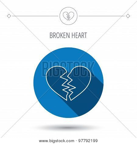 Broken heart icon. Divorce sign.