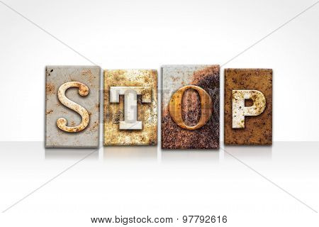 Stop Letterpress Concept Isolated On White