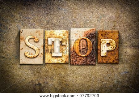 Stop Concept Letterpress Leather Theme